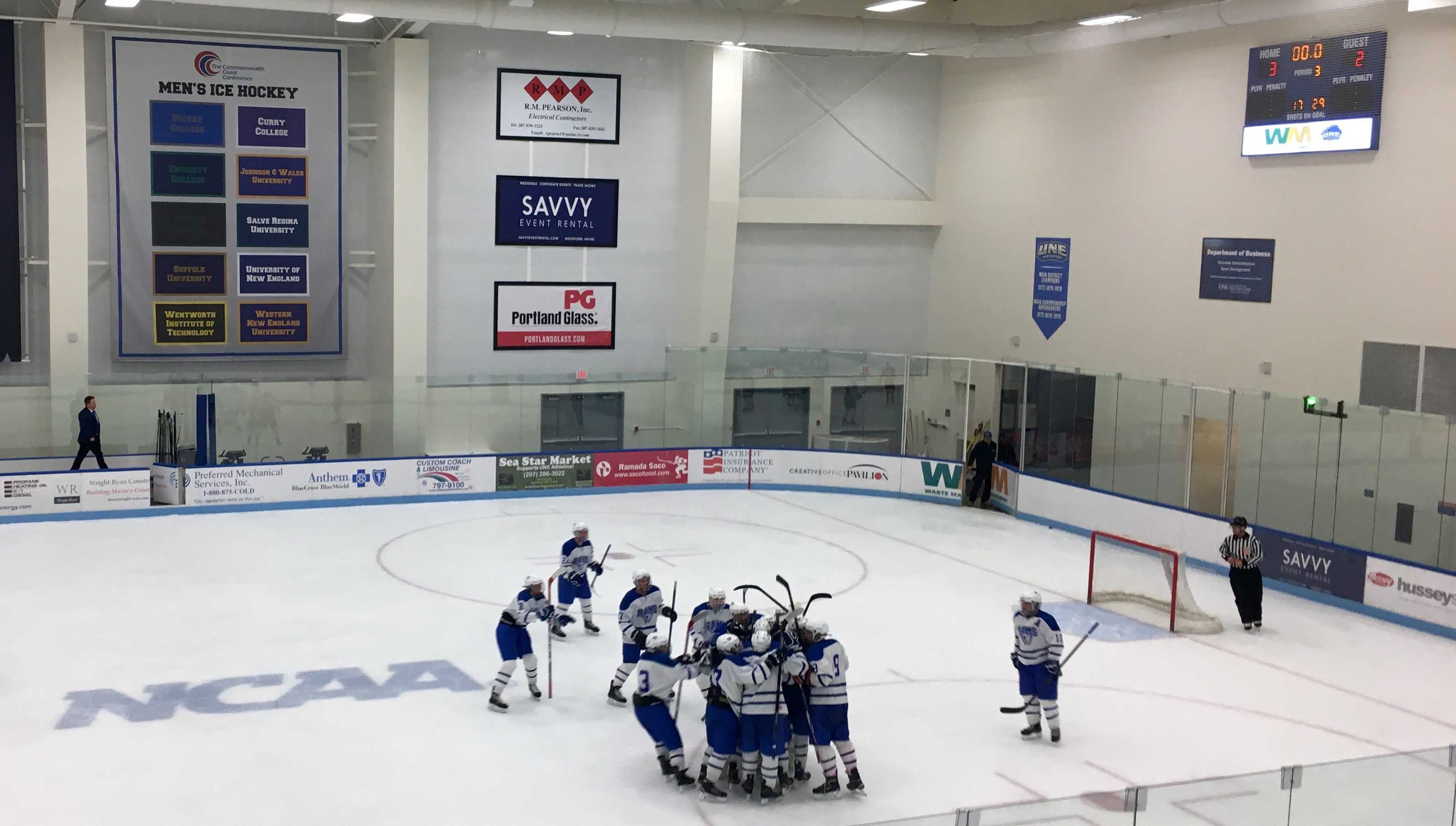 The team celebrates after an exciting 3-2 win over Cape Elizabeth in January.