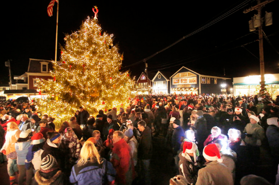 Thousands gather into Dock Square to watch the tree light up.